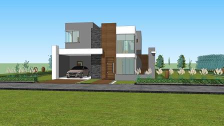 两层现代别墅建筑, 带车库, 带泳池