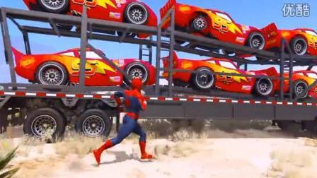 汽车总动员动漫 汽车城的变形卡车 卡尔变形推土机 运输车运载闪电麦昆参加赛车比赛