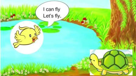 英语故事《We Are Friends》第一段: 小鸟和兔子来了
