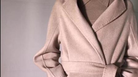 系带款杏米色纯羊绒, 这种款式每个时尚潮人衣橱里必备