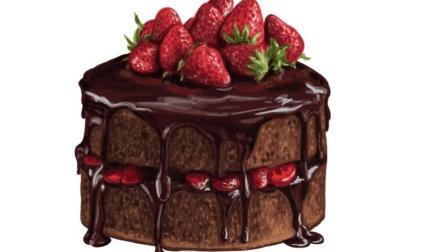 草莓巧克力蛋糕简易做法, 甜腻度自己掌握, 再也不怕吃不完