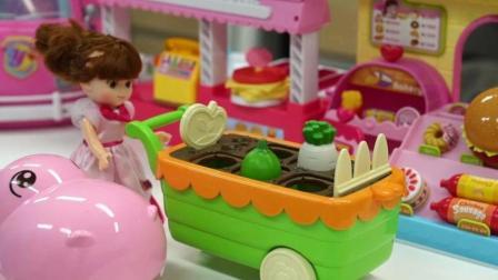 布娃娃玩具过家家 比萨店玩具和蔬菜玩具
