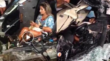 美女遭遇恐怖车祸, 车前身完全毁掉, 她却毫发未损的原因让人笑喷了