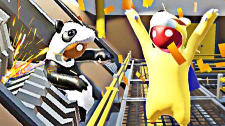 【屌德斯&小熙】 基佬大乱斗 全新地图 熊猫超人和熊大疯狂拆核电站后不慎被卷入搅拌机