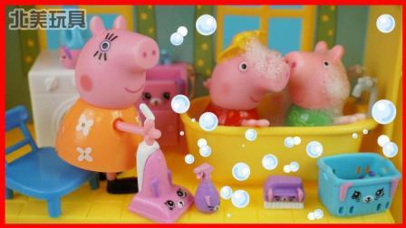 小猪佩奇洗泡泡浴全家发大水的儿童故事 332