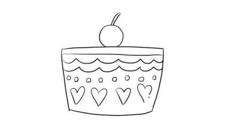 可爱的樱桃蛋糕幼儿亲子简笔画 宝宝轻松学画画