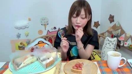 日本大胃王吃货木下妹子挑战吃超高热量的10种口味芝士水果蛋糕