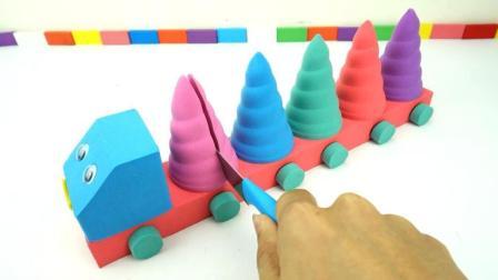 魔力太空沙DIY手工制作冰淇淋雪糕车, 趣味亲子早教