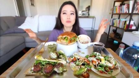 大胃王Stephanie: 小姐姐狂吃韩国玉米饼、沙拉三明治、鸡肉三明治, 一年没吃饭系列!