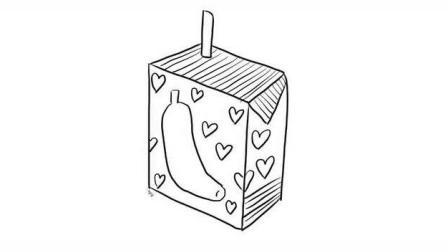 香蕉酸奶幼儿亲子简笔画 宝宝轻松学画画