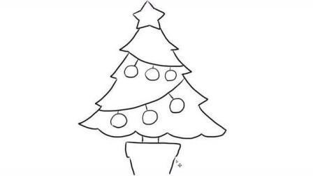 漂亮的圣诞树树幼儿亲子简笔画 宝宝学画画