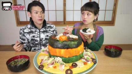 日本大胃王俄罗斯佐藤挑战吃超过6kg的超豪华寿司蛋糕, 太能吃啊