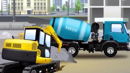 儿童挖掘机卡通 大巴士撞上商店 水泥搅拌车工作时被水泥粘住 挖掘机吊车施救也被粘住