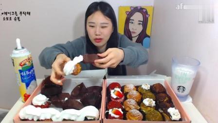 美食视频: 韩国大胃王卡妹, 吃32个迷你小蛋糕