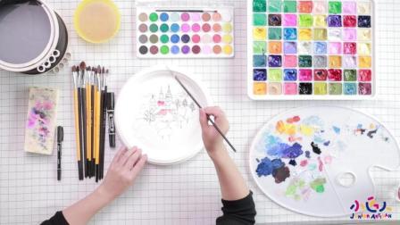 初学好看的水粉画视频, 简单唯美的水粉画教程, 水粉画绘画远处的城堡