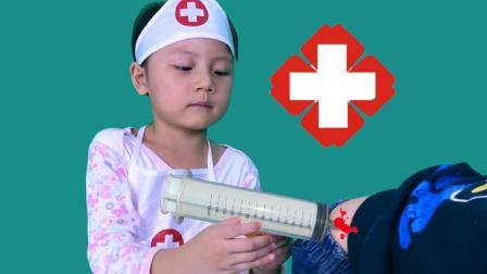 吃碎冰冰冻伤, 医生看病打针治疗, 过家家打针玩具