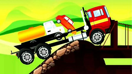 工程车视频之卡车大货车运输搅拌车视频第02期 大货车被困低洼路段 阿克叔游戏