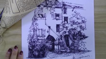 【艺达】彩铅手绘马克笔风景—线稿房子 上
