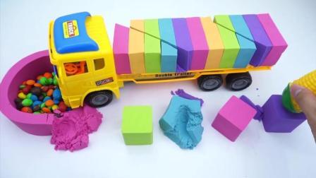 趣味英文早教! 魔力太空沙DIY大卡车彩虹糖, 学习颜色