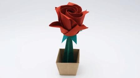 教你折一朵玫瑰花! 简单又漂亮的折纸花大全图解! 创意diy纸艺