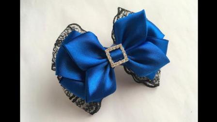 装饰花边蝴蝶结发夹! 蓝色是忧郁的颜色!
