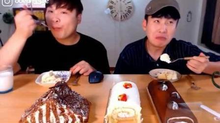 韩国吃播大胃王豪放派donkey兄弟吃2个蛋糕卷和巧克力蛋糕, 牛奶