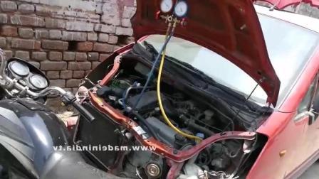 看印度流动汽车维修师傅给汽车维修的技术, 一月能挣多少钱呢,