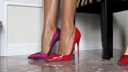 美女穿18cm细跟高跟鞋, 完美修饰美腿线条, 魅力大长腿超性感!