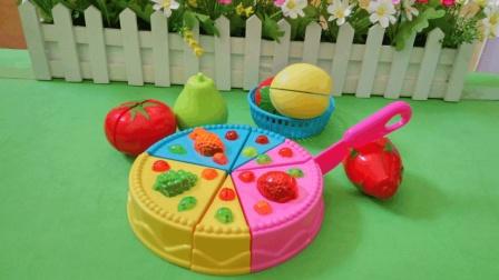 成蒙玩乐屋之来自米奇妙妙屋的水果蛋糕过家家玩具有6个水果和1个大蛋糕