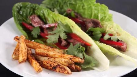 生菜包牛肉配上自制薯条, 家常做法做出高级餐的味道!