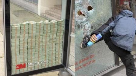 街头300万美金砸开玻璃即可拿走, 网友: 来中国试试!