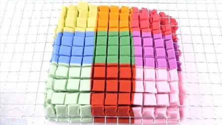 太空沙用丝网颜色动力沙丘瑞典Skwooshi蛋糕泥冰淇淋做法神奇彈力沙【俊和他的玩具们