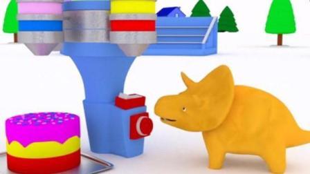宝宝巴士恐龙世界 恐龙当家 恐龙戴诺制作生日蛋糕 翻斗车伊森玩纸飞机学习颜色