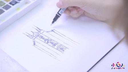 创意美术手绘风景水彩画视频教程步骤, 简单唯美的水彩画风景米兰大教堂