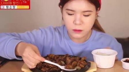 韩国吃播: 大胃王豪放派吃播donkey妹妹ASMR吃铁板风味烤鸡配米饭