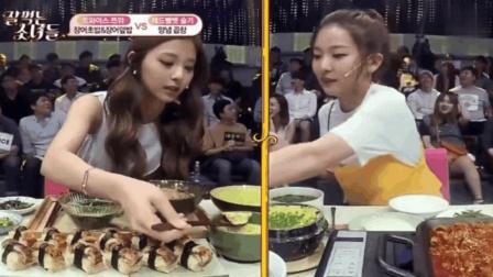 韩国美食节目, 中韩美女一起吃饭, 中国美女让韩国妹子感受到什么叫优雅!