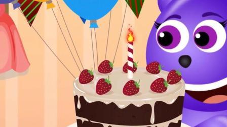学习颜色: 顽皮熊过生日, 看谁给它送蛋糕