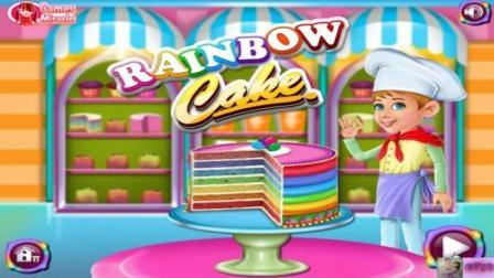 芭比公主动画片 制作游戏  制作彩虹蛋糕
