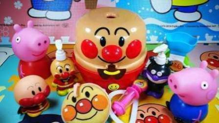 小猪佩奇做饭趣味厨房玩具, 面包超人厨房玩具和过家家做彩泥蛋糕甜点冰淇淋