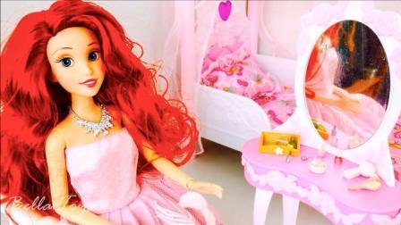 芭比公主起床和宝宝一起吃蛋糕喝茶