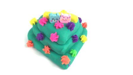 月采超Q食玩玩具 50  爱心三层生日蛋糕做好啦 培乐多彩色粘土手工制作diy 爱心三层生日蛋糕做好啦