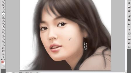 绘制美女头像人物画, 高手用PS鼠绘就搞定了, 比照片更好看。