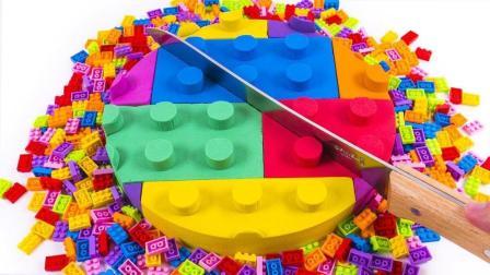 手工DIY制作动力砂乐高块蛋糕手指家庭苗水精灵彩虹泥土粘土太空沙彩虹【俊和他的玩具们