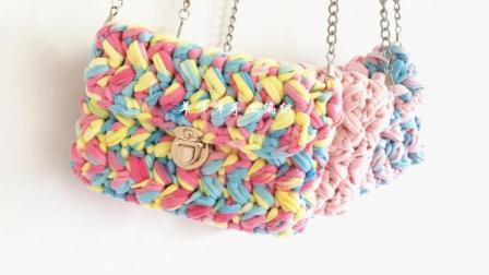 小香风布条线挎包-羊咩咩手工编织