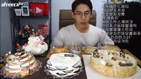 韩国大胃王奔驰小哥吃蛋糕 吃这么多奶油怎么就不胖