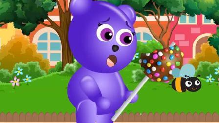 顽皮熊在街上买的棒棒糖, 被小虫子吃了