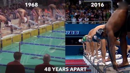 直击50年前100米自由泳奥运会比赛: 足足比现在慢半个游泳池