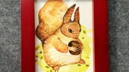 我不是帕金森抽奖作品 水彩创意画之松鼠手绘图片, 我不是帕金森治愈系绘画视频教程