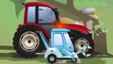 儿童工程车动画片 拖拉机追赶大脚车撞断大树被卡住 土方车与施救车相撞车头变形