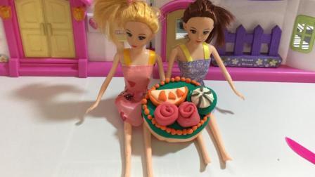 哆啦盒子玩具时间 2017 给芭比公主做彩泥生日蛋糕 403